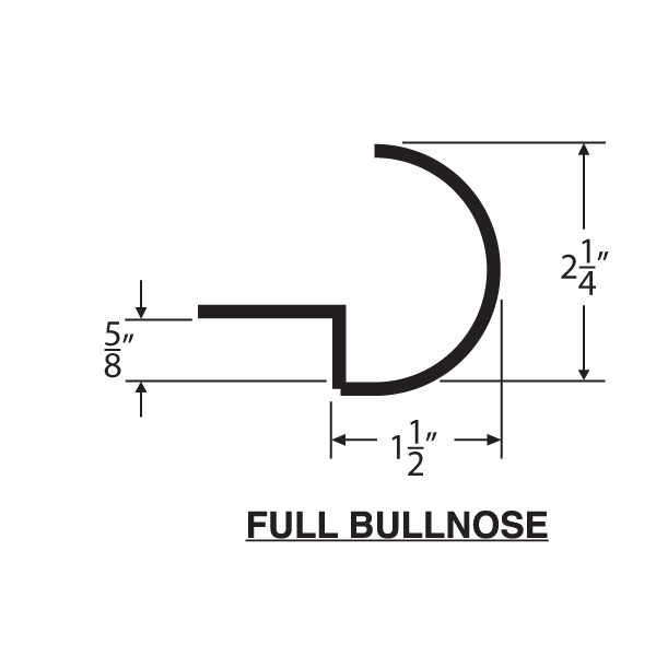 Counter top form full bullnose fb001 for Lineal foot counter