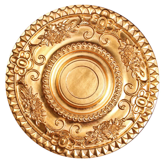 Ceiling medallion polyurethane decorative fdc 3055 gold for Architectural medallions exterior