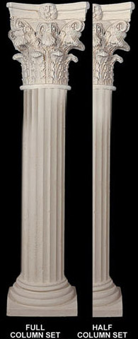 Fine sand stucco smooth fluted column 8 w x 112 h shaft for Stucco columns