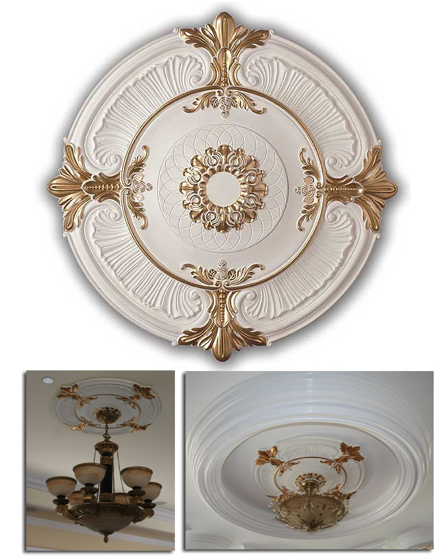 Ceiling Medallion Polyurethane Decorative Fdcem 01011wg