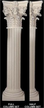 Fine sand stucco smooth fluted column 8 w x 112 h shaft for Crown columns fiberglass