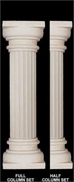 Fine Sand Stucco Smooth Fluted Column With Hightop Top